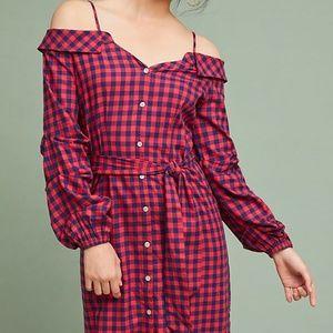 NWT Anthropologie Flannel Open-Shoulder Shirtdress